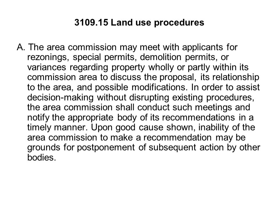 Land use procedures A.