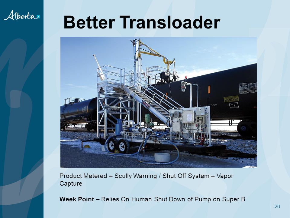 26 Better Transloader Product Metered – Scully Warning / Shut Off System – Vapor Capture Week Point – Relies On Human Shut Down of Pump on Super B
