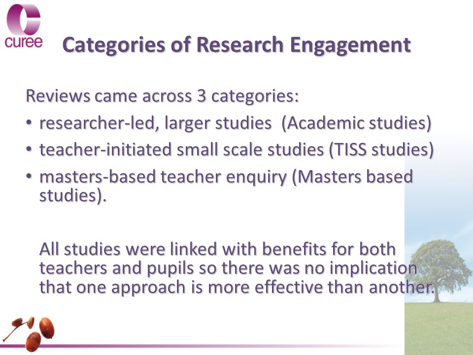 Categories of Research Engagement Reviews came across 3 categories: researcher-led, larger studies (Academic studies) researcher-led, larger studies (Academic studies) teacher-initiated small scale studies (TISS studies) teacher-initiated small scale studies (TISS studies) masters-based teacher enquiry (Masters based studies).