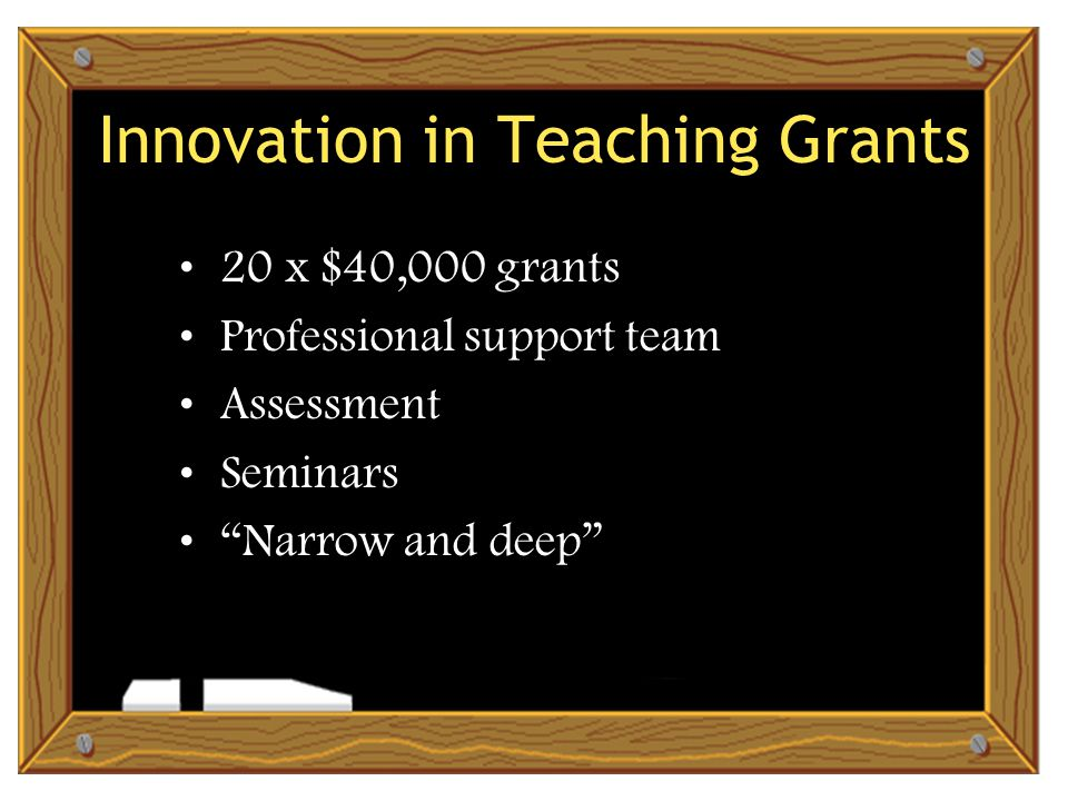 Innovation in Teaching Grants 20 x $40,000 grants Professional support team Assessment Seminars Narrow and deep