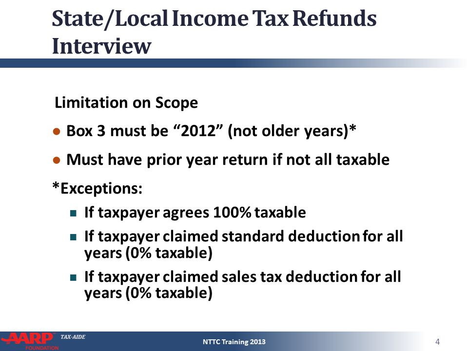 TAXAIDE StateLocal Income Tax Refunds Form 1040Line 10 Pub – State Tax Refund Worksheet