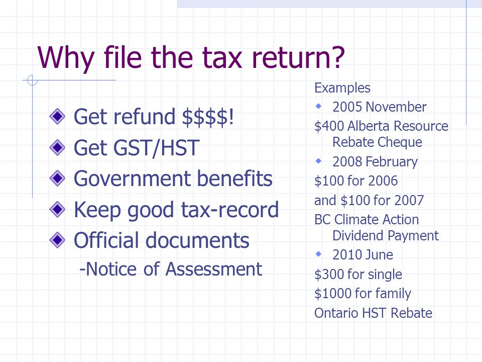 Why file the tax return. Get refund $$$$.