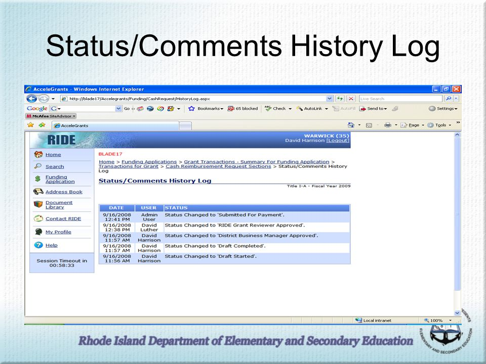 Status/Comments History Log