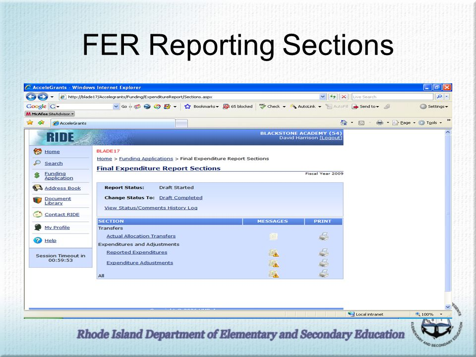FER Reporting Sections