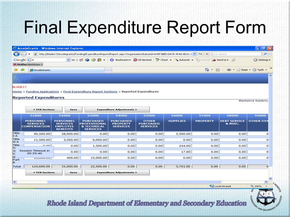 Final Expenditure Report Form