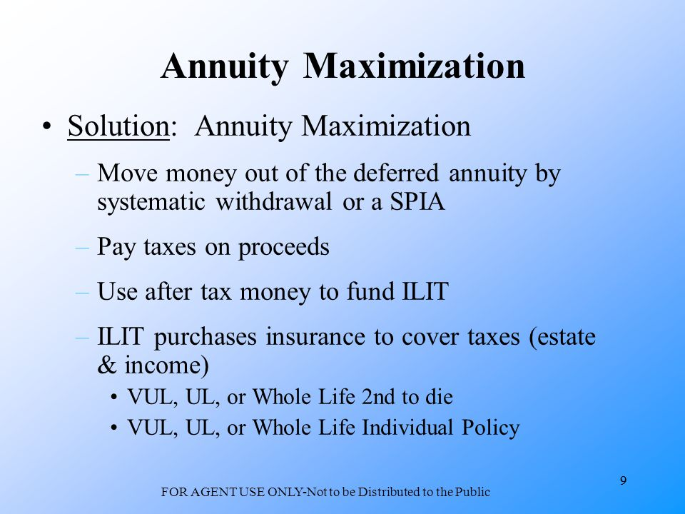 9 FOR AGENT USE ONLY-Not to be Distributed to the Public 9 Annuity Maximization Solution: Annuity Maximization –Move money out of the deferred annuity by systematic withdrawal or a SPIA –Pay taxes on proceeds –Use after tax money to fund ILIT –ILIT purchases insurance to cover taxes (estate & income) VUL, UL, or Whole Life 2nd to die VUL, UL, or Whole Life Individual Policy
