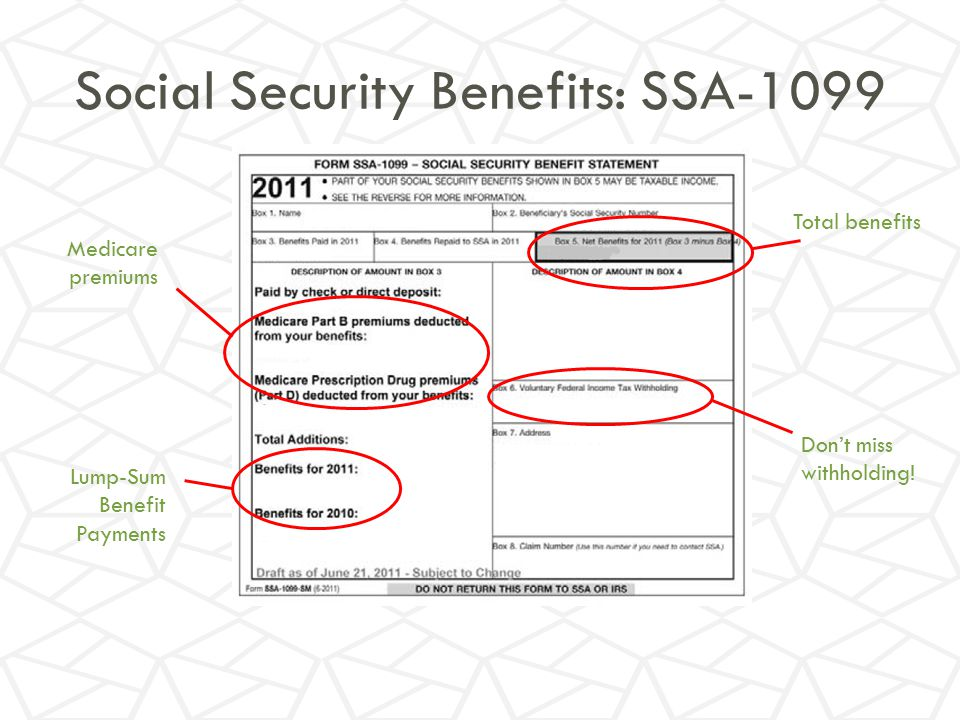 1099 Worksheet – Social Security Benefits Worksheet