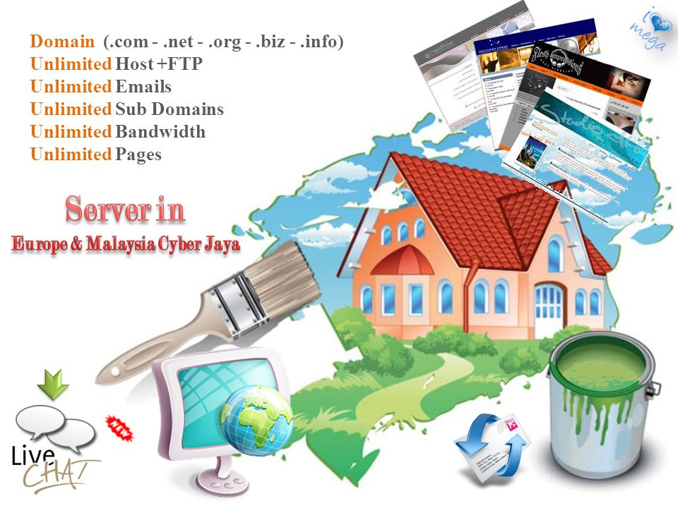 Domain (.com -.net -.org -.biz -.info) Unlimited Host +FTP Unlimited  s Unlimited Sub Domains Unlimited Bandwidth Unlimited Pages