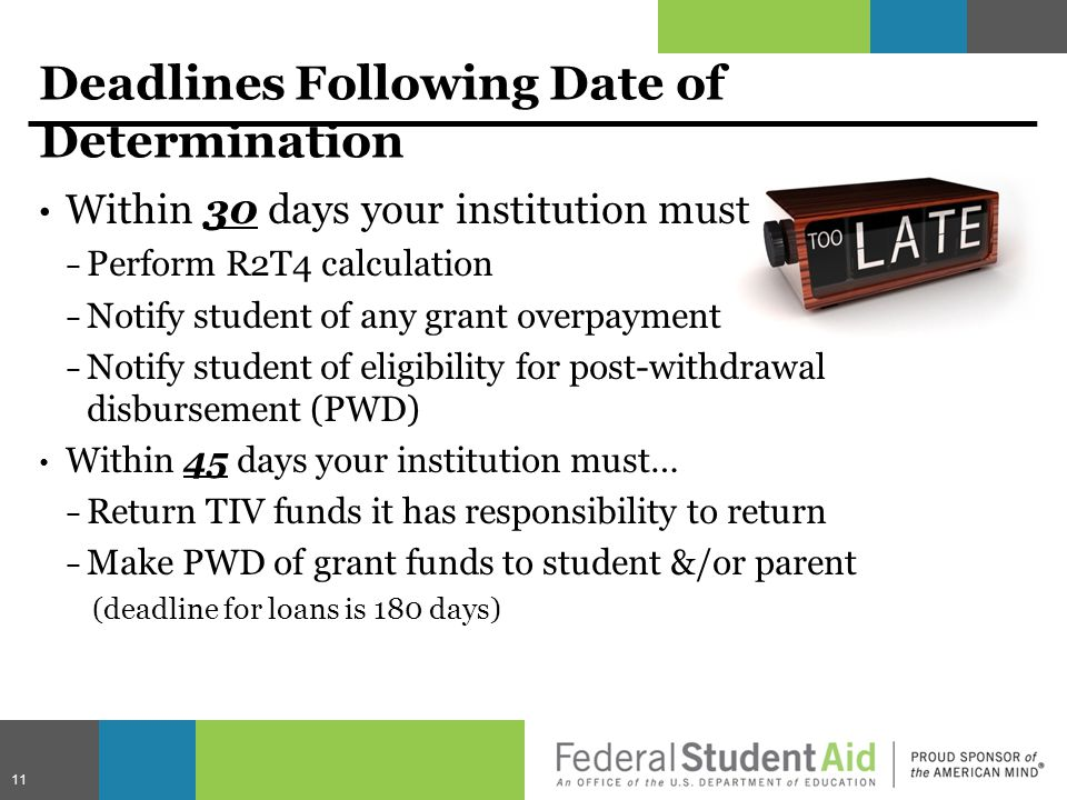 Deadlines Following Date of Determination Within 30 days your institution must − Perform R2T4 calculation − Notify student of any grant overpayment − Notify student of eligibility for post-withdrawal disbursement (PWD) Within 45 days your institution must… − Return TIV funds it has responsibility to return − Make PWD of grant funds to student &/or parent (deadline for loans is 180 days) 11