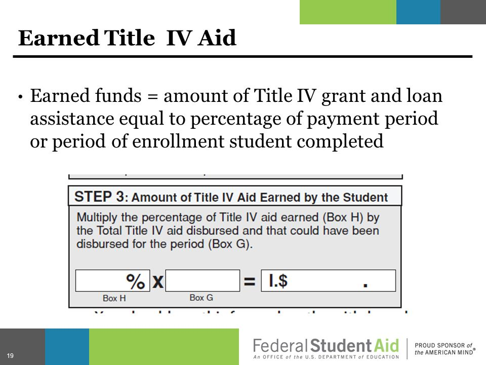 Earned Title IV Aid Earned funds = amount of Title IV grant and loan assistance equal to percentage of payment period or period of enrollment student completed 19