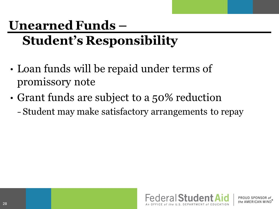 Unearned Funds – Student's Responsibility Loan funds will be repaid under terms of promissory note Grant funds are subject to a 50% reduction − Student may make satisfactory arrangements to repay 28