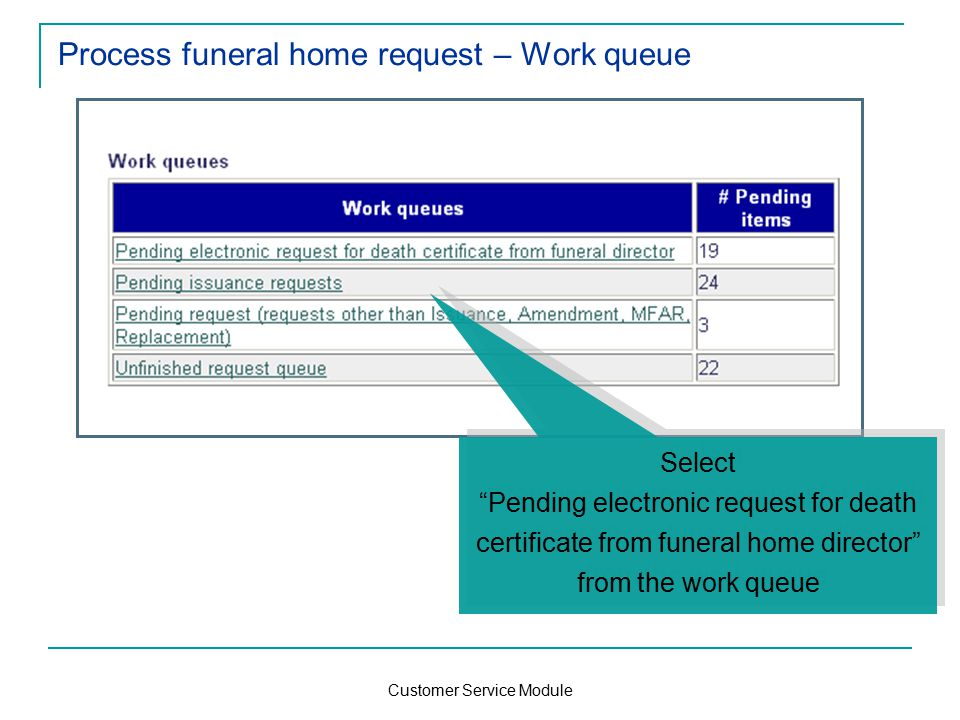 Customer Service Module Process funeral home request – Work queue Select Pending electronic request for death certificate from funeral home director from the work queue Select Pending electronic request for death certificate from funeral home director from the work queue