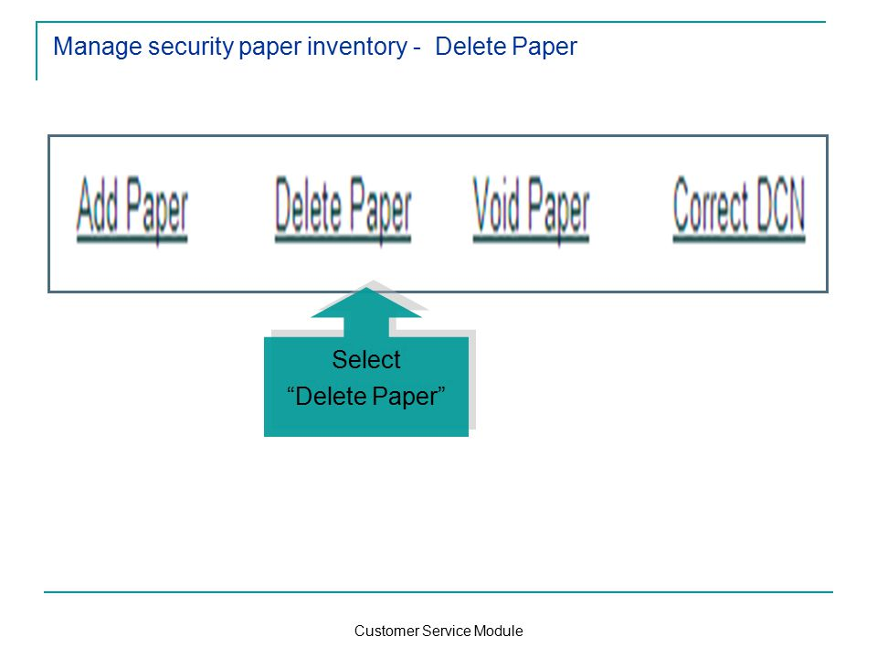 Customer Service Module Manage security paper inventory - Delete Paper Select Delete Paper Select Delete Paper