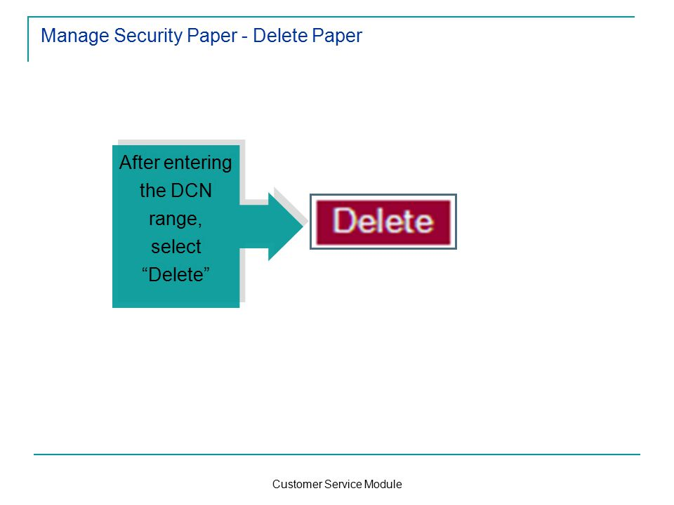 Customer Service Module Manage Security Paper - Delete Paper After entering the DCN range, select Delete After entering the DCN range, select Delete