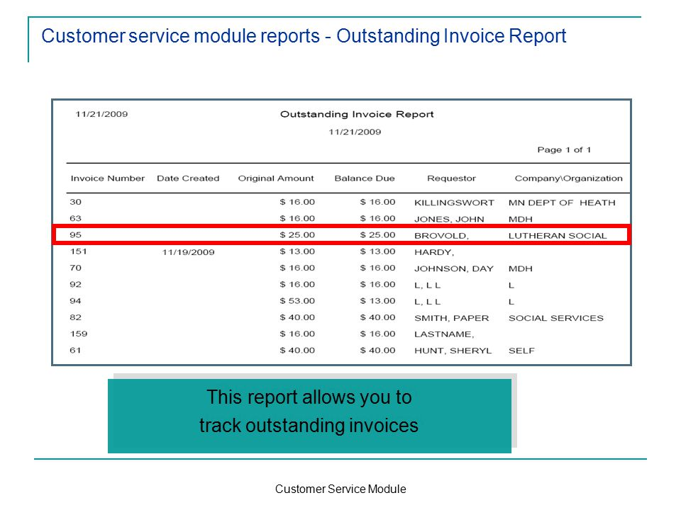 Customer Service Module Customer service module reports - Outstanding Invoice Report This report allows you to track outstanding invoices This report allows you to track outstanding invoices