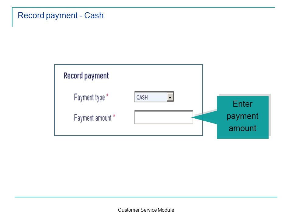 Customer Service Module Record payment - Cash Enter payment amount Enter payment amount