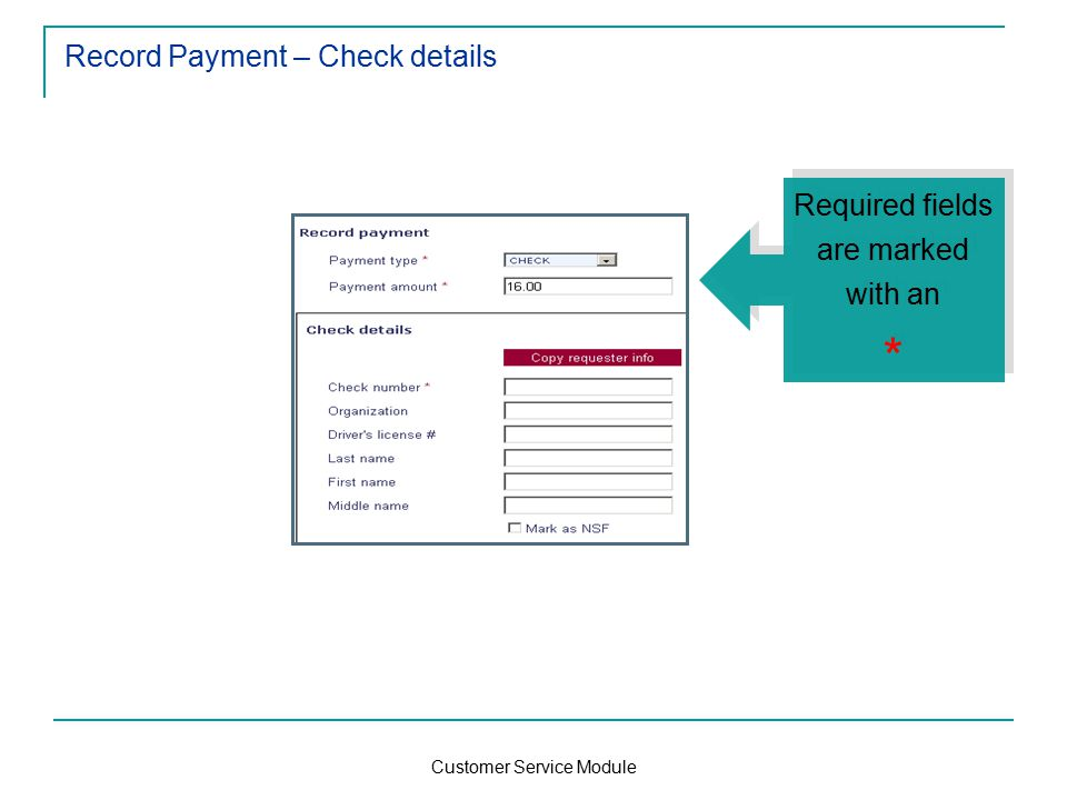 Customer Service Module Record Payment – Check details Required fields are marked with an * Required fields are marked with an *