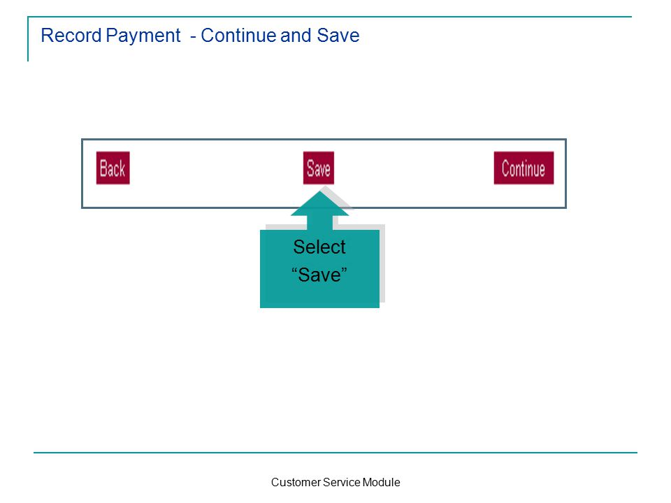 Customer Service Module Record Payment - Continue and Save Select Save Select Save