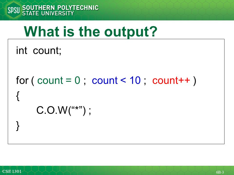 CSE B-3 What is the output.