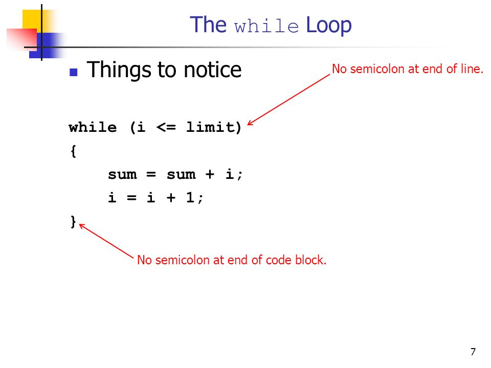 7 The while Loop Things to notice while (i <= limit) { sum = sum + i; i = i + 1; } No semicolon at end of line.