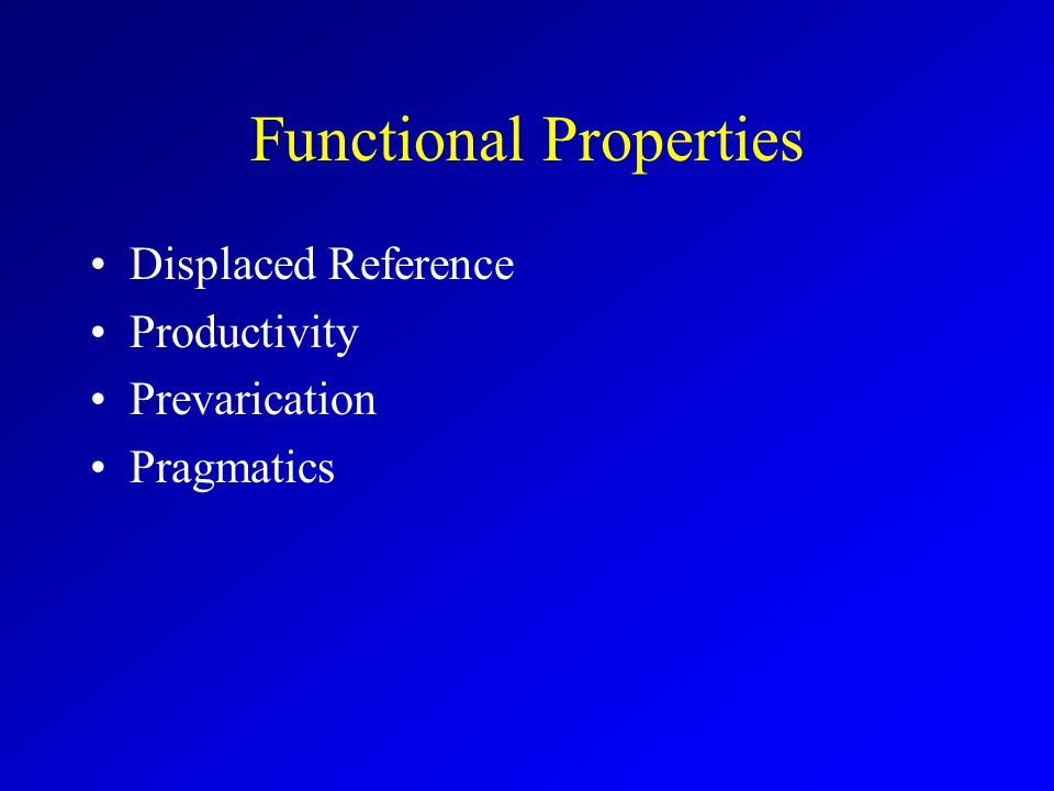 Functional Properties Displaced Reference Productivity Prevarication Pragmatics
