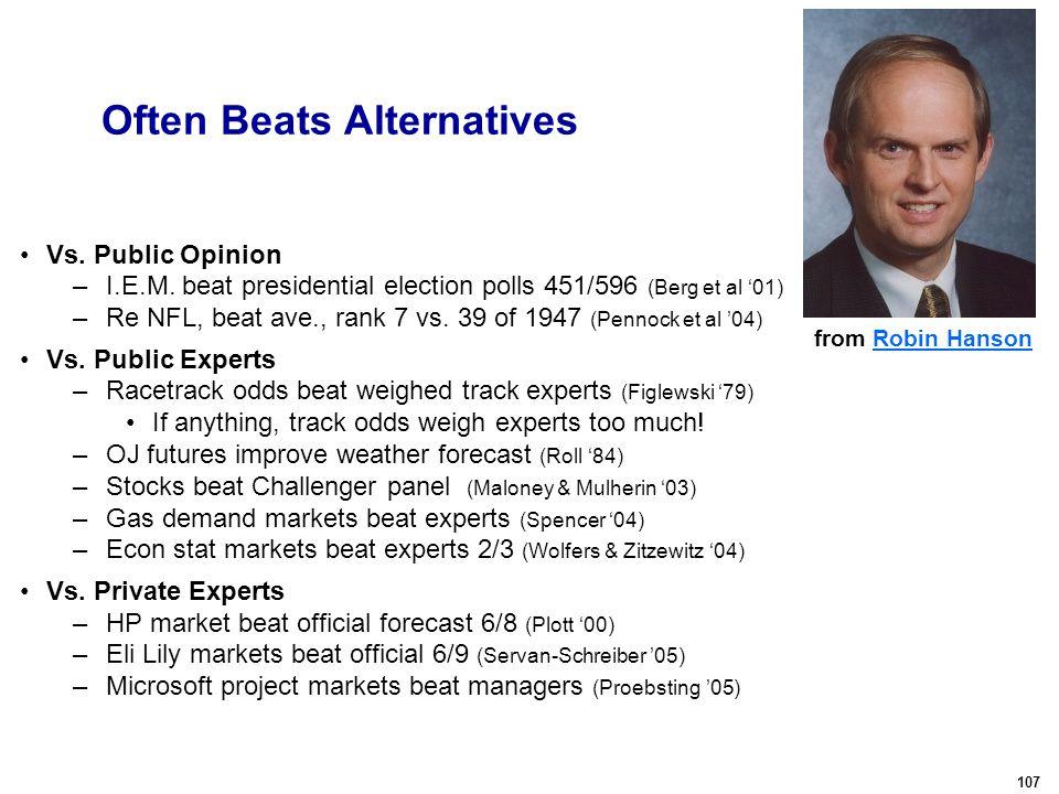 107 Often Beats Alternatives Vs. Public Opinion –I.E.M.