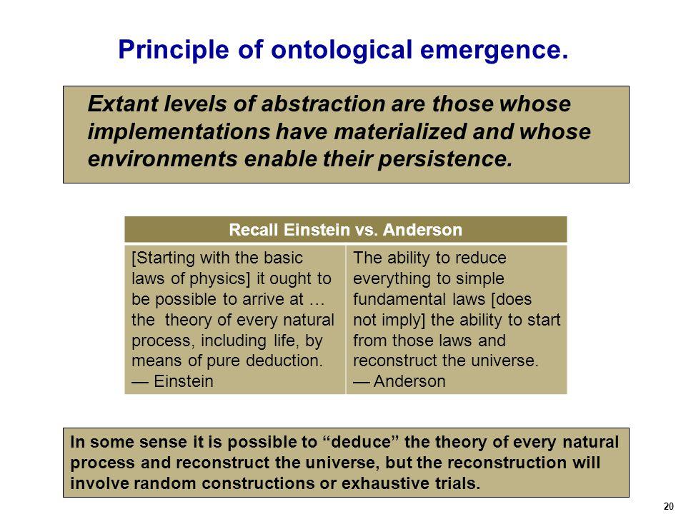 20 Principle of ontological emergence.