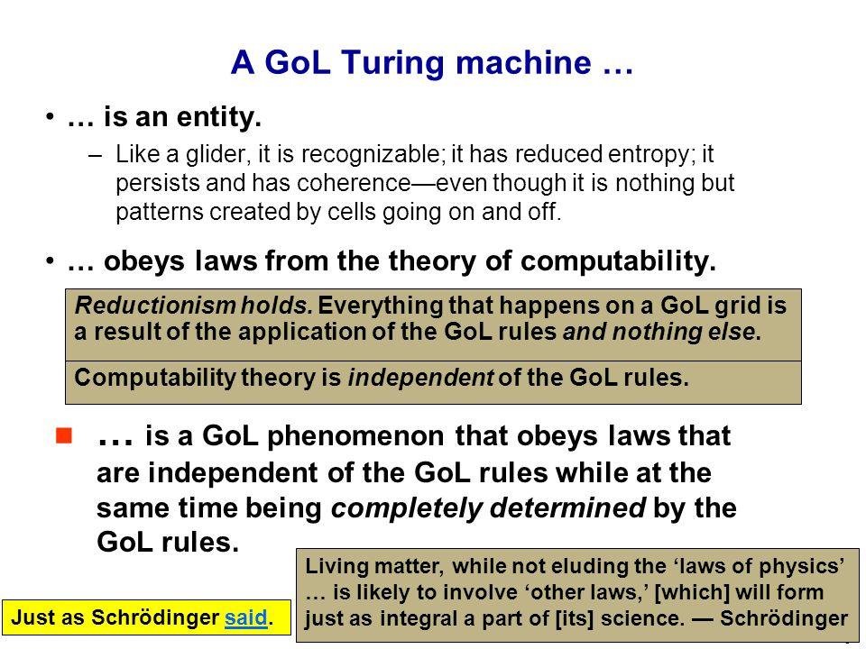 9 A GoL Turing machine … … is an entity.