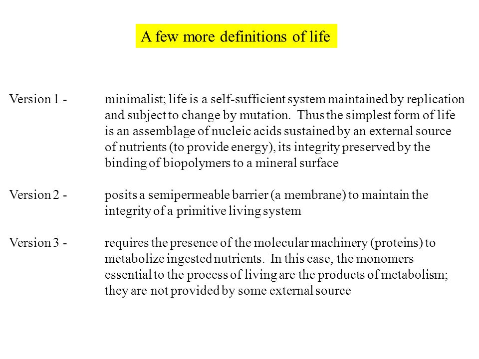 Chapter 1 Cells and Genomes. Definition of Life Textbook ...