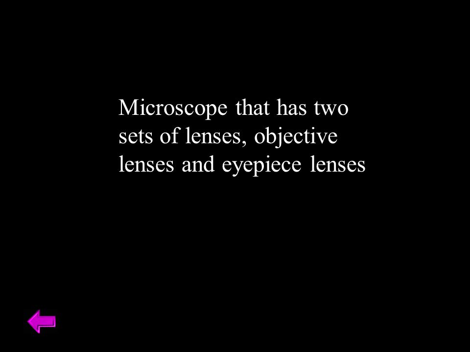Microscope that has two sets of lenses, objective lenses and eyepiece lenses