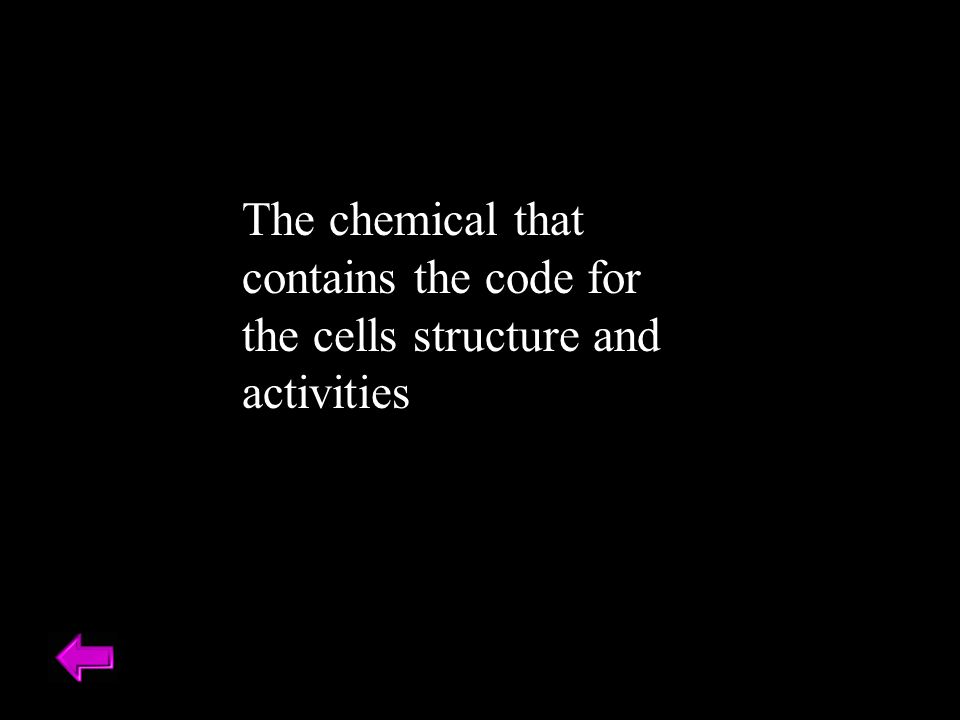 The chemical that contains the code for the cells structure and activities