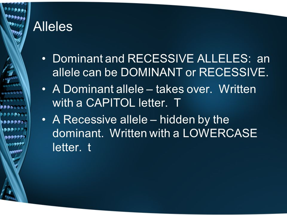 Alleles Dominant and RECESSIVE ALLELES: an allele can be DOMINANT or RECESSIVE.