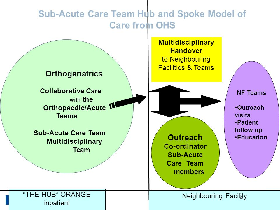 The Health Roundtable 4   Joint Question for Orthogeriatrics Collaborative Care with the Orthopaedic/Acute Teams Sub-Acute Care Team Multidisciplinary Team NF Teams Outreach visits Patient follow up Education Outreach Co-ordinator Sub-Acute Care Team members THE HUB ORANGE inpatient Neighbouring Facility Multidisciplinary Handover to Neighbouring Facilities & Teams Sub-Acute Care Team Hub and Spoke Model of Care from OHS 4