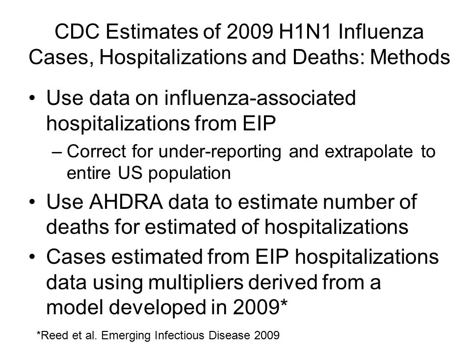 CDC Estimates of 2009 H1N1 Influenza Cases, Hospitalizations and Deaths: Methods Use data on influenza-associated hospitalizations from EIP –Correct for under-reporting and extrapolate to entire US population Use AHDRA data to estimate number of deaths for estimated of hospitalizations Cases estimated from EIP hospitalizations data using multipliers derived from a model developed in 2009* *Reed et al.