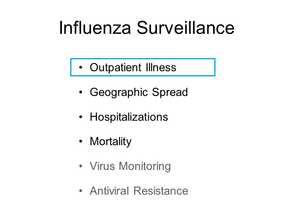 Influenza Surveillance Outpatient Illness Geographic Spread Hospitalizations Mortality Virus Monitoring Antiviral Resistance