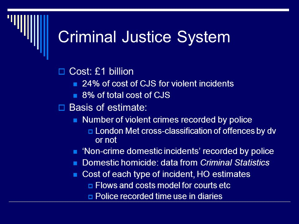 Criminal Justice System  Cost: £1 billion 24% of cost of CJS for violent incidents 8% of total cost of CJS  Basis of estimate: Number of violent crimes recorded by police  London Met cross-classification of offences by dv or not 'Non-crime domestic incidents' recorded by police Domestic homicide: data from Criminal Statistics Cost of each type of incident, HO estimates  Flows and costs model for courts etc  Police recorded time use in diaries