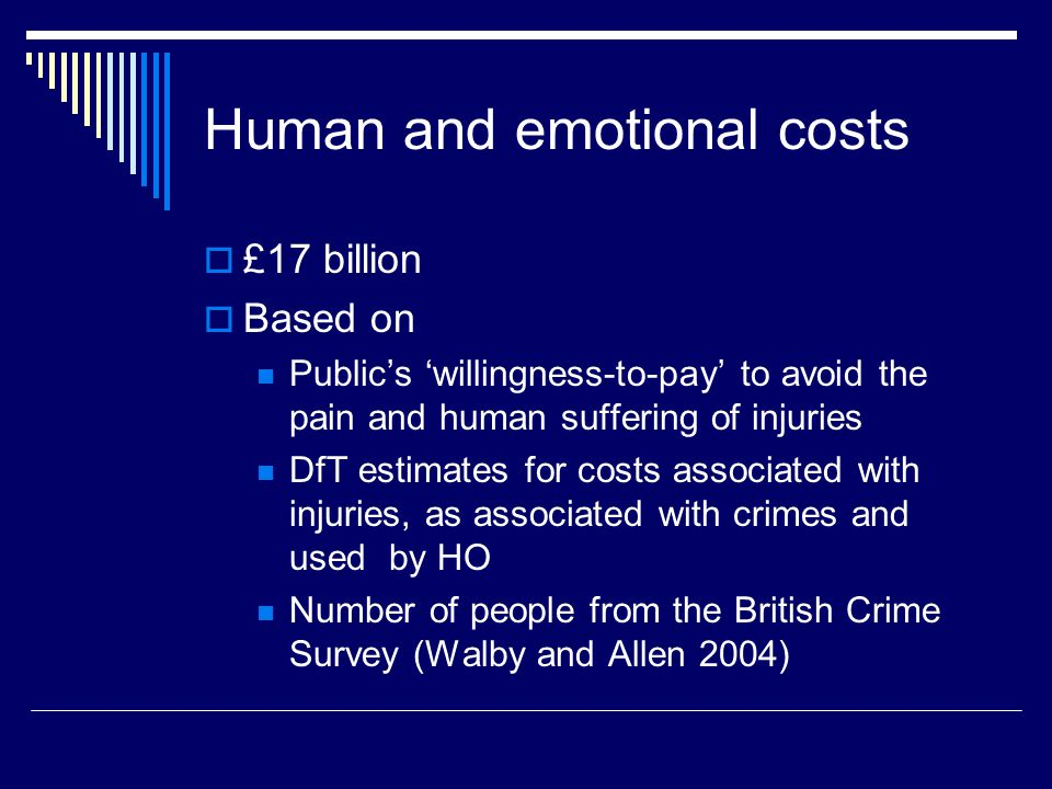 Human and emotional costs  £17 billion  Based on Public's 'willingness-to-pay' to avoid the pain and human suffering of injuries DfT estimates for costs associated with injuries, as associated with crimes and used by HO Number of people from the British Crime Survey (Walby and Allen 2004)