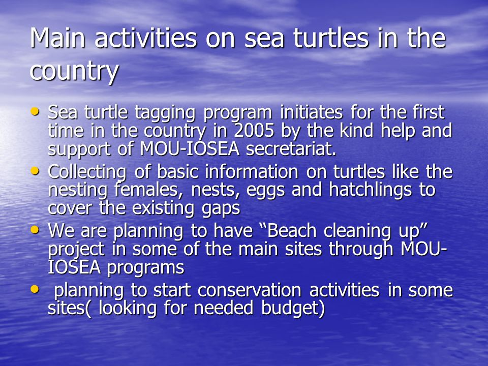 Main activities on sea turtles in the country Sea turtle tagging program initiates for the first time in the country in 2005 by the kind help and support of MOU-IOSEA secretariat.