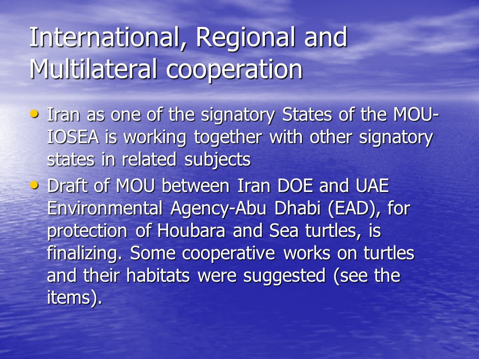International, Regional and Multilateral cooperation Iran as one of the signatory States of the MOU- IOSEA is working together with other signatory states in related subjects Iran as one of the signatory States of the MOU- IOSEA is working together with other signatory states in related subjects Draft of MOU between Iran DOE and UAE Environmental Agency-Abu Dhabi (EAD), for protection of Houbara and Sea turtles, is finalizing.