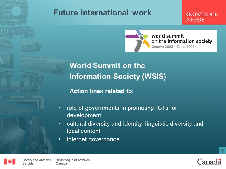 15 Future international work World Summit on the Information Society (WSIS) Action lines related to: role of governments in promoting ICTs for development cultural diversity and identity, linguistic diversity and local content internet governance