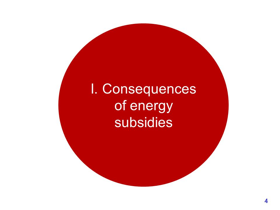 I. Consequences of energy subsidies 4
