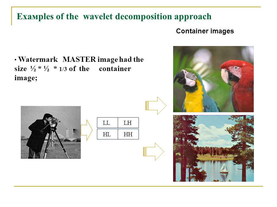 Eхамples of the wavelet decomposition approach LL LH HL HH Watermark MASTER image had the size ½ * ½ * 1/3 of the container image; Container images