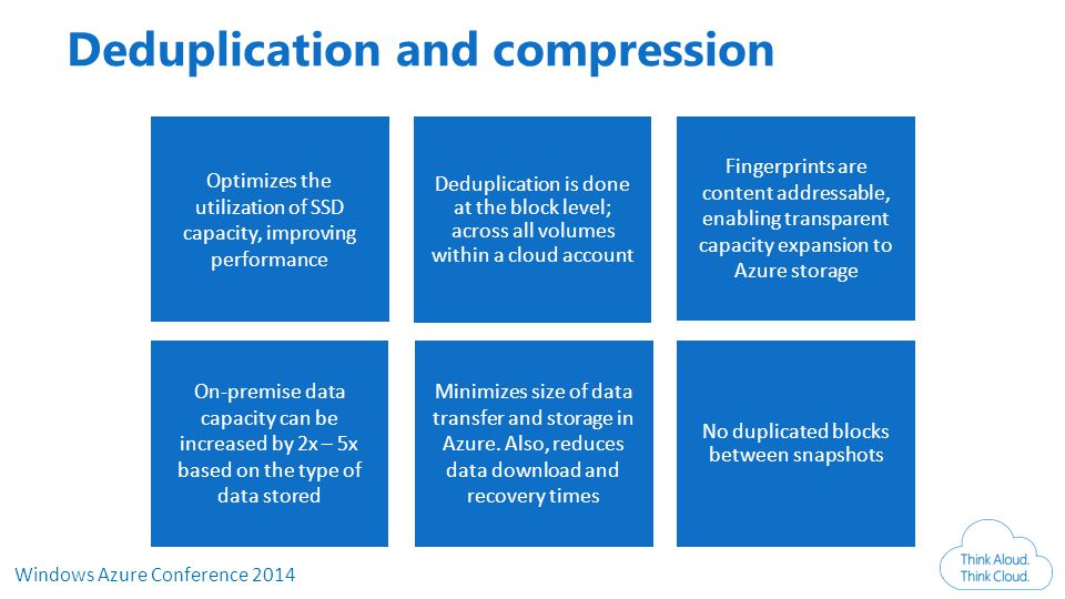 Windows Azure Conference 2014 Deduplication and compression Deduplication is done at the block level; across all volumes within a cloud account No duplicated blocks between snapshots Optimizes the utilization of SSD capacity, improving performance Minimizes size of data transfer and storage in Azure.
