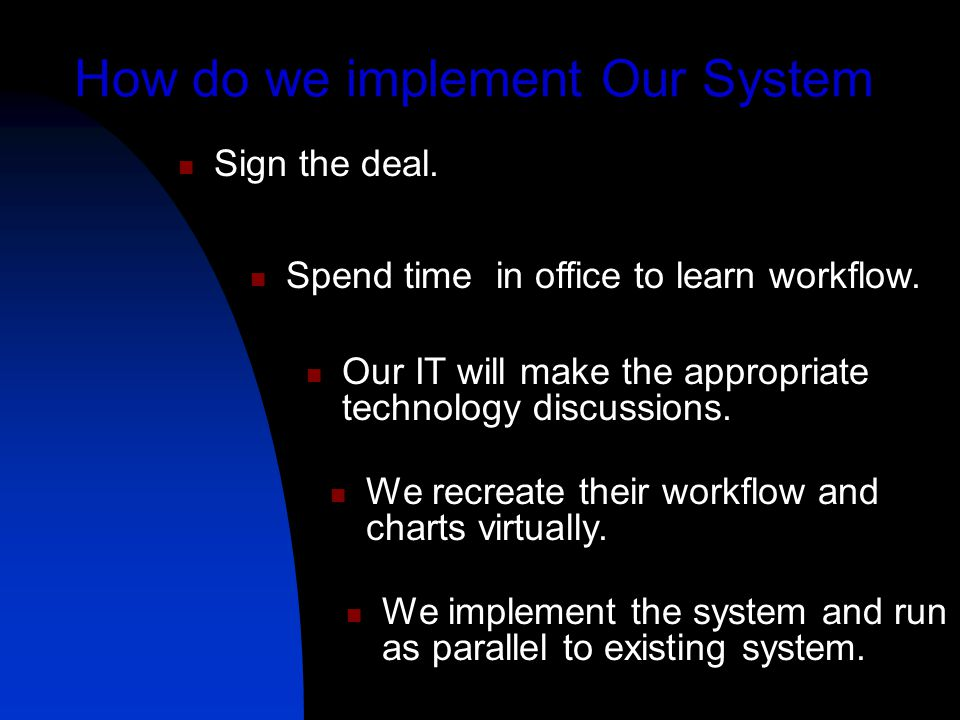 How do we implement Our System Sign the deal. Spend time in office to learn workflow.