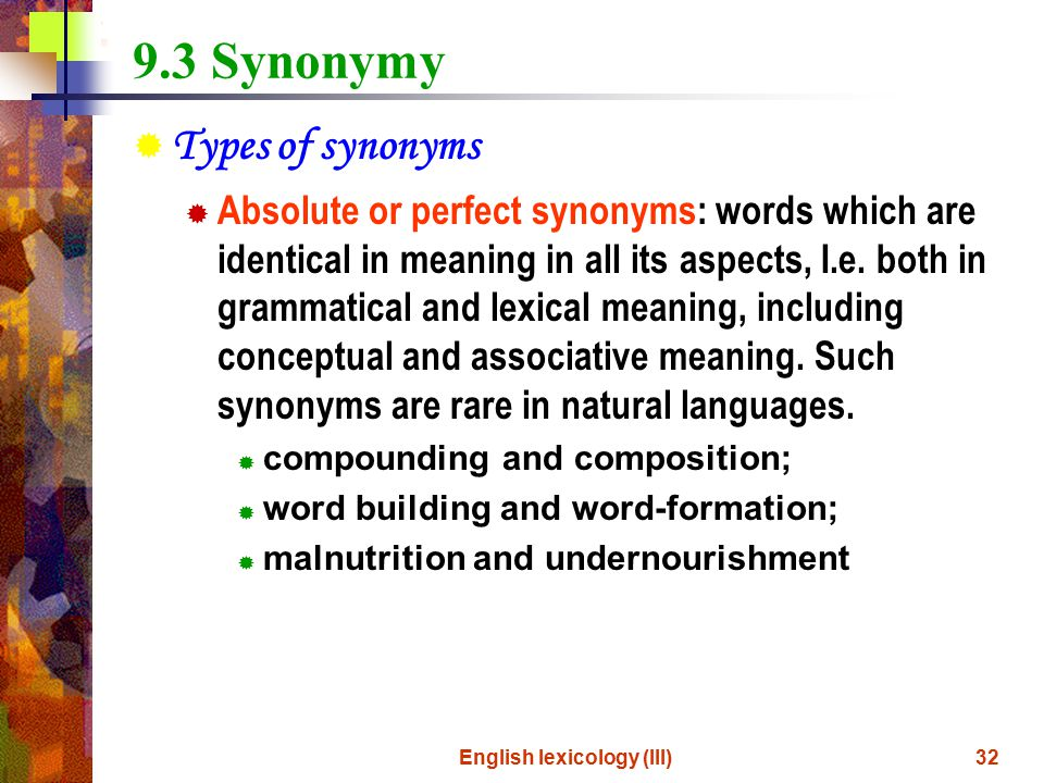 word meaning and sense relations