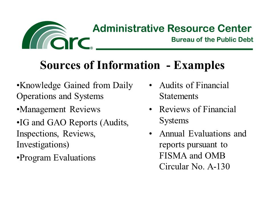 Sources of Information - Examples Audits of Financial Statements Reviews of Financial Systems Annual Evaluations and reports pursuant to FISMA and OMB Circular No.