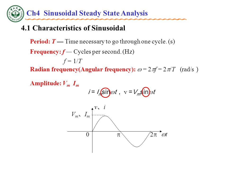 4.1 Characteristics of Sinusoidal Radian frequency(Angular frequency):  = 2  f = 2  /T (rad/s ) Period: T — Time necessary to go through one cycle.