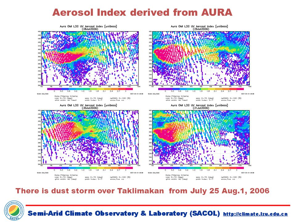 There is dust storm over Taklimakan from July 25 Aug.1, 2006 Aerosol Index derived from AURA