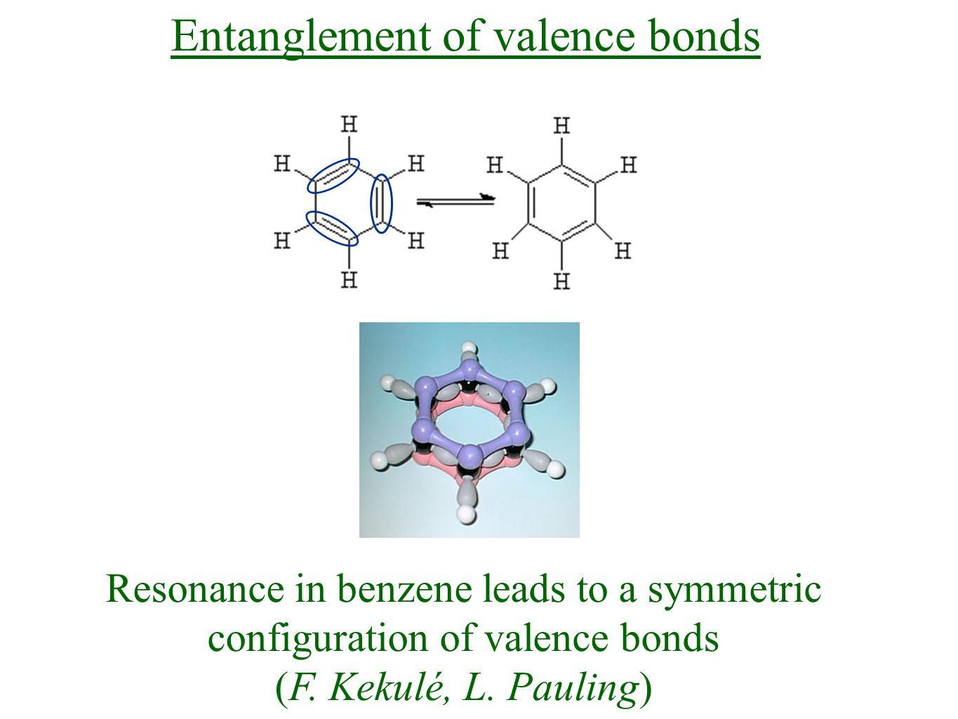 Resonance in benzene leads to a symmetric configuration of valence bonds (F.