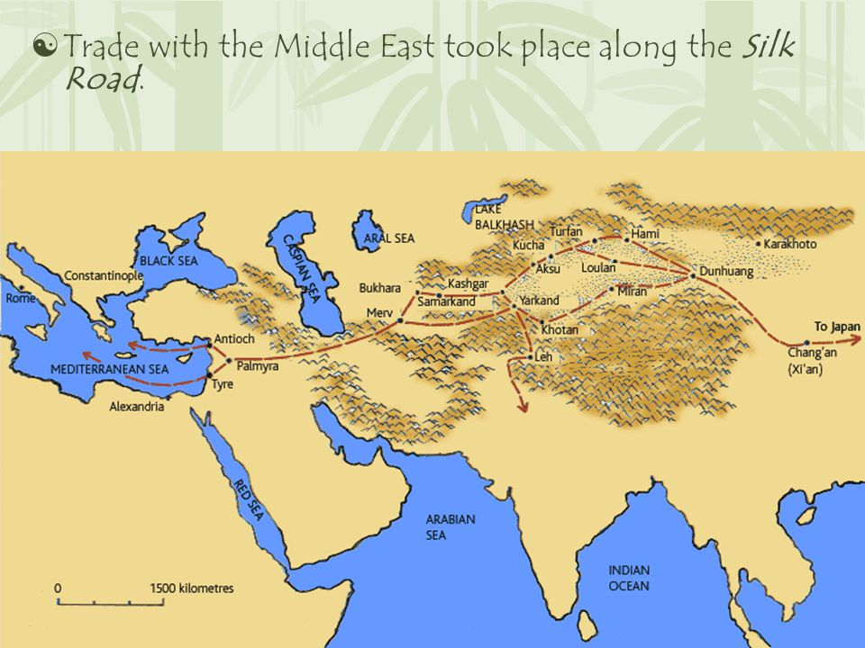  Trade with the Middle East took place along the Silk Road.